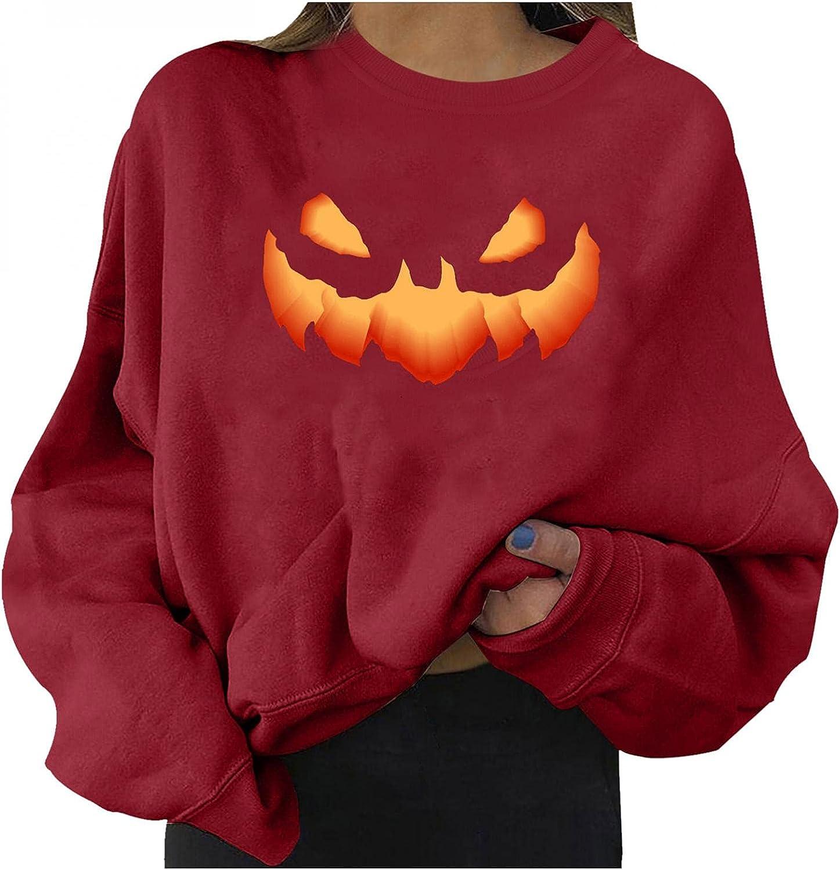 Halloween Women Shirt Cute Pumpkin Ghost Black Cat Bat Print Casual Sweatshirts Long Sleeve Crewneck Pullover Sweaters 202