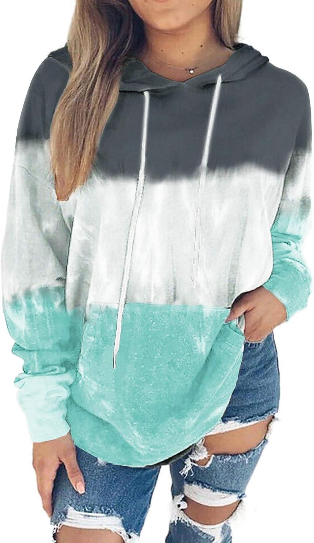 Chase Secret Women Tie Dye Print Cowl Neck Long Sleeve Drawstring Pullover Hoodies Sweatshirts with Pocket