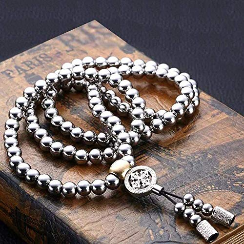 Necklaces for Men, 108 Stainless Steel Buddha Beads Necklace Chain, Outdoor Self Defense Chain Full Steel Martial Arts Weapon (Color : C)