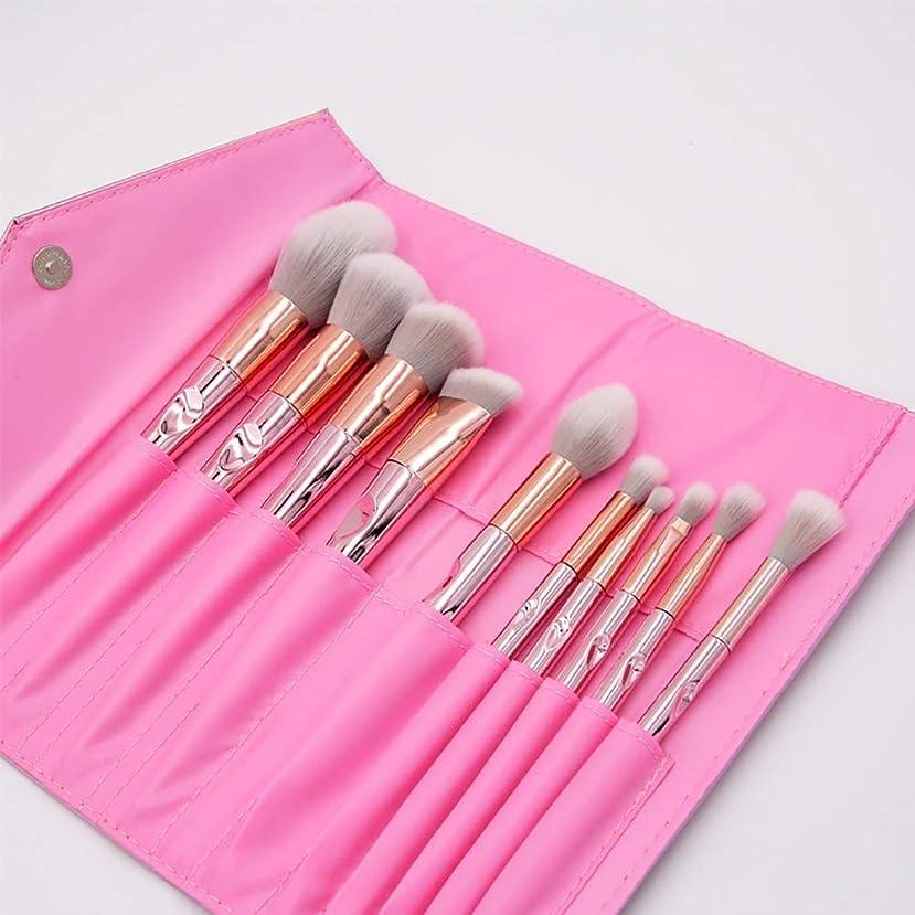 娯楽ホール損なう化粧ブラシ、プロの合成ビーガンメイクアップブラシファンデーションブラッシュアイライナーアイシャドウ化粧ブラシセット化粧品袋付き(10個、ピンク)