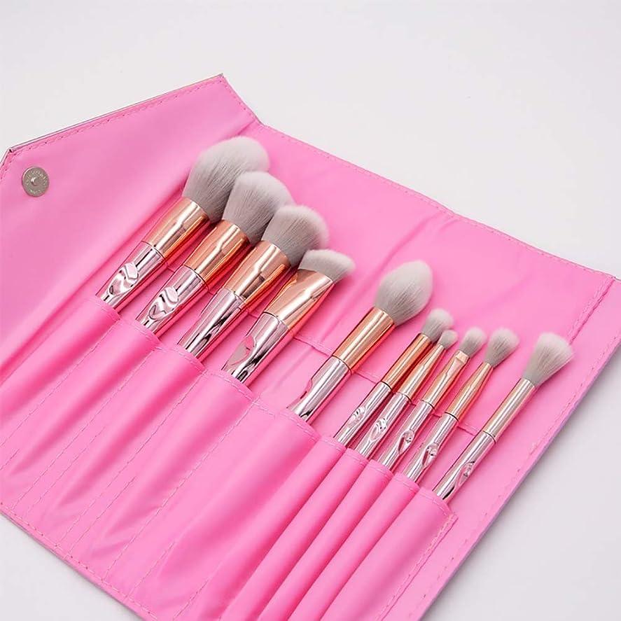 聖歌港滑りやすい化粧ブラシ、プロの合成ビーガンメイクアップブラシファンデーションブラッシュアイライナーアイシャドウ化粧ブラシセット化粧品袋付き(10個、ピンク)