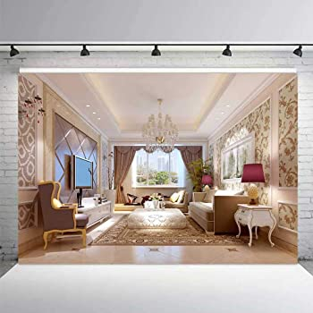 Amazon Com Interior Design Backdrop 7x5ft Interior Room Decoration Photography Background Classic Design Sofa Carpet Crystal Chandelier Window Home House Decoration Adults Photo Studio Props Wallpaper Mttv019 Camera Photo
