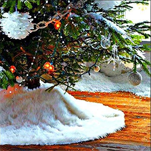 PUERI Couvre-Pied Sapin Jupe Arbre de Noël Jupe de Sapin Peluche Tapis Peluche Blanc Décoration Cache Pied au Bout de Sapin Décoratif 30.7inch