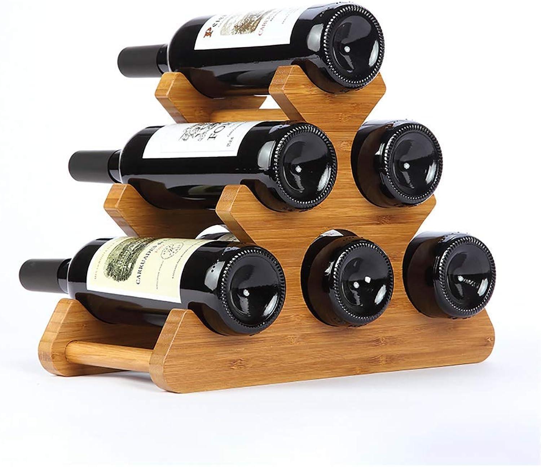 mejor vendido GQSHK Wine Bottle Rack Natural Bamboo 6 6 6 Bottle Wine Rack Encimeras Accesorios de Vino A +  grandes ahorros
