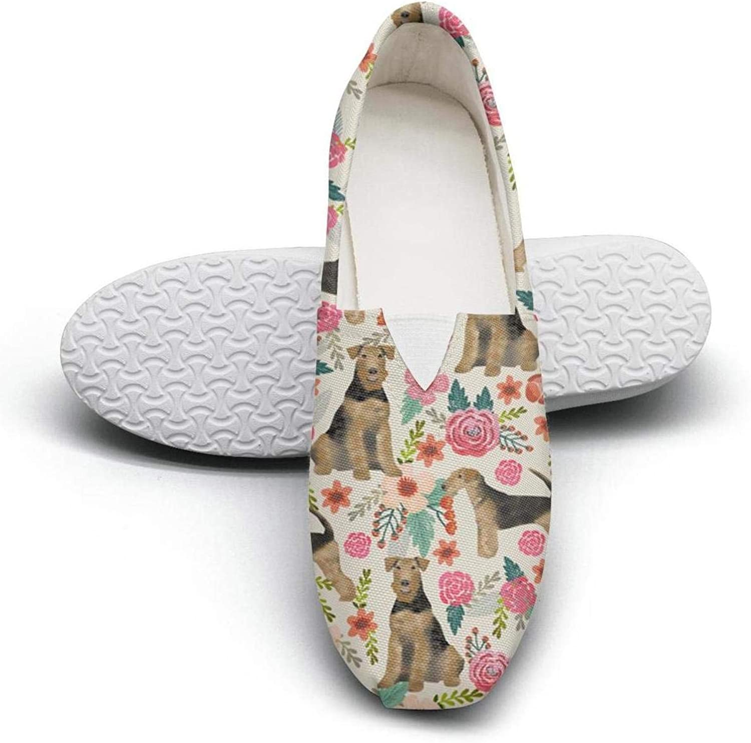 Women's Cotton Espadrille Brindle Dog and Florals Soft shoes