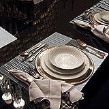 GODTEN Platzdeckchen (8er Set) Platzset Abwischbar – Hitzebeständig und Abgrifffeste Waschbare Tischmatte – Grau Tischset Kunststoff für Küche Speisetisch – 30x45cm (8er, A3) - 5
