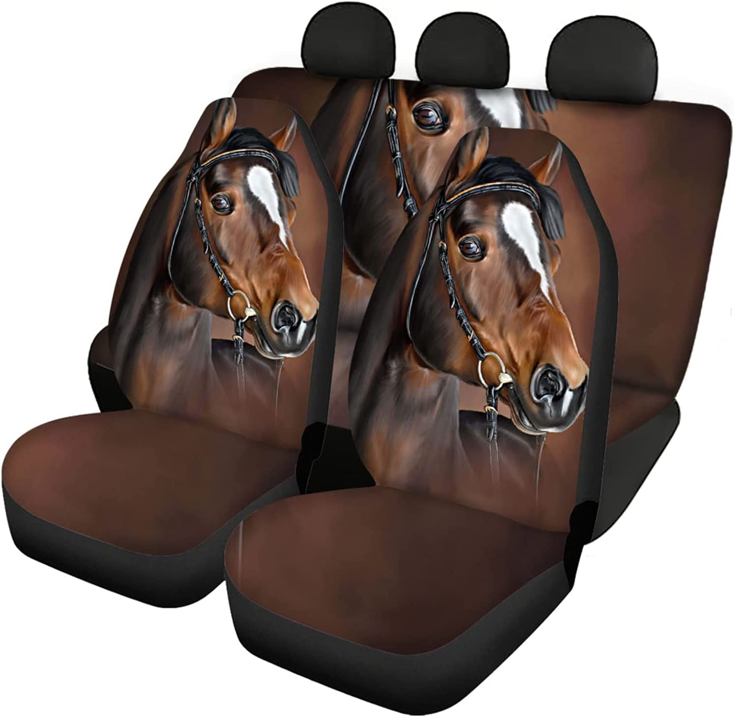 Belidome Horse Car Seat Covers Set Auto of Universal Front All stores Clearance SALE! Limited time! are sold Bac 4