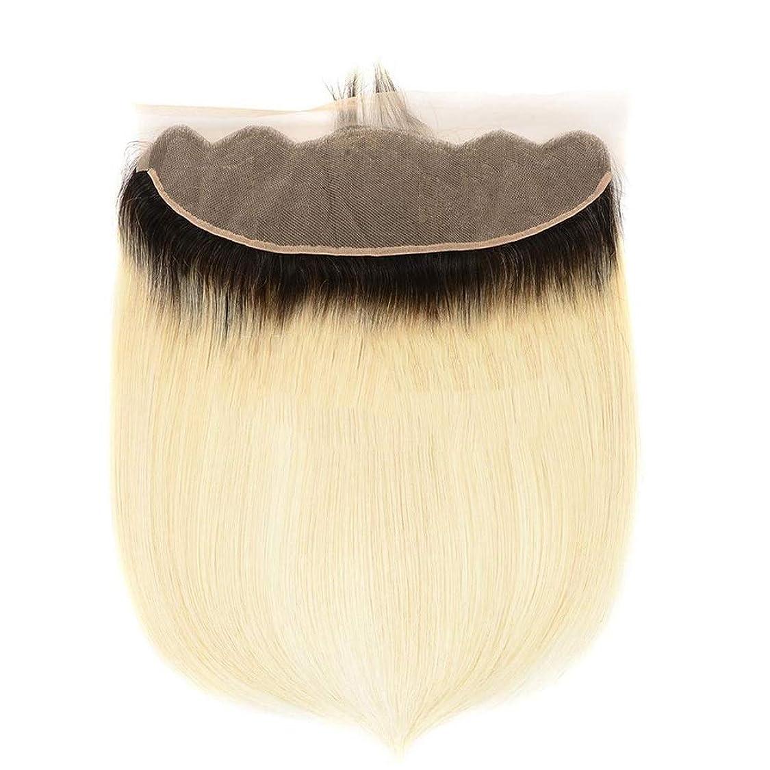 BOBIDYEE 1B / 613#金髪絹のようなストレートヘアー部分13x4レースの前頭9Aブラジルの人間の髪の毛(8インチ-20インチ)合成髪レースかつらロールプレイングウィッグロング&ショート女性自然 (色 : Blonde, サイズ : 12 inch)