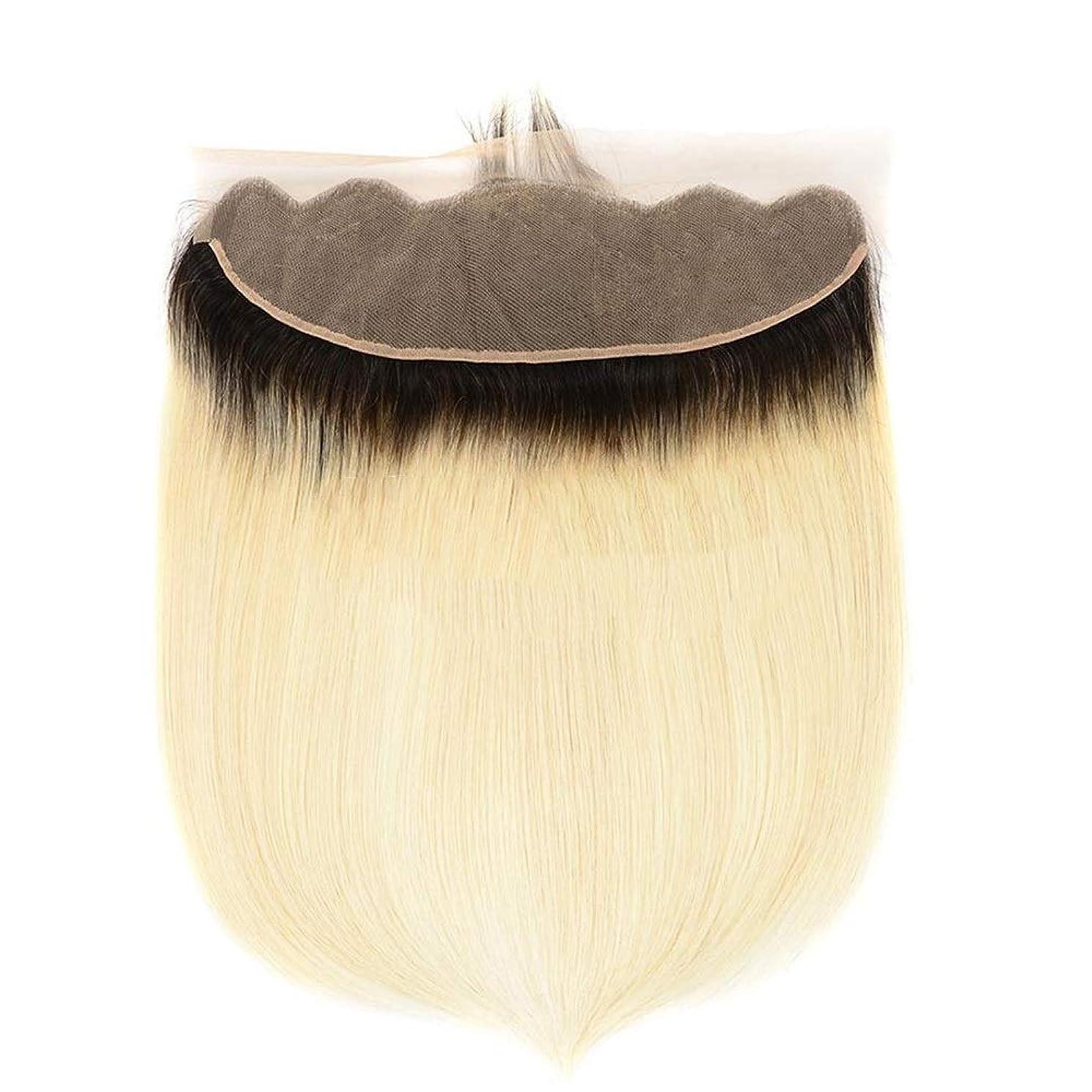 懺悔靴ウガンダBOBIDYEE 1B / 613#金髪絹のようなストレートヘアー部分13x4レースの前頭9Aブラジルの人間の髪の毛(8インチ-20インチ)合成髪レースかつらロールプレイングウィッグロング&ショート女性自然 (色 : Blonde, サイズ : 12 inch)