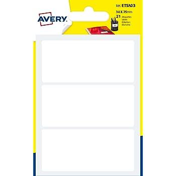 AVERY - Sachet de 21 étiquettes autocollantes, Format 34 x 75 mm