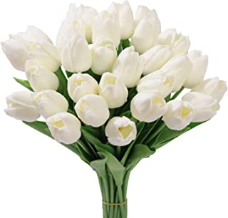 20Pcs Artificial Flowers Real Touch Tulips in White Wedding Bouquets Flowers Fake Tulips PU Plants Flowers Arrangement Bouquet Home Room DIY Centerpiece Party Wedding Decor