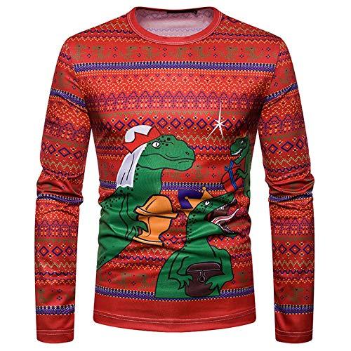 Tops De Otoño para Hombre 2020 Sudadera con Capucha para Festival De Moda Cuello Redondo Manga Larga Navidad 3D Dinosaurio Impreso Camiseta Prendas De Vestir Blusa(XXL,Rojo)