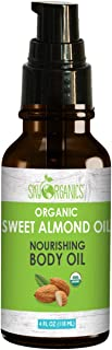 USDA Organic Sweet Almond Oil by Sky Organics (4oz) Pure Cold-Pressed Almond Face Oil Moisturizing Oil for Body Skin & Hair
