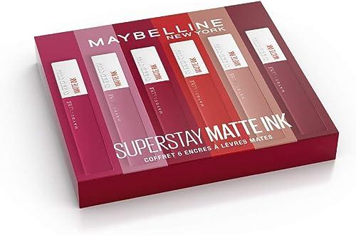 Maybelline New York - Coffret Exclusif de 6 Rouges àLèvres Liquides Longue Tenue - Superstay Matte Ink - Teintes: Lo...