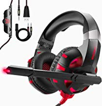 Cascos Gaming PS4 / PC/Xbox One y Switch,ONIKUMA Auriculares Premium Stereo con Microfono - Auriculares de Diadema con Cancelacion de Ruido - Juego Gaming Headset con 3.5mm Jack Rojo Luz LED