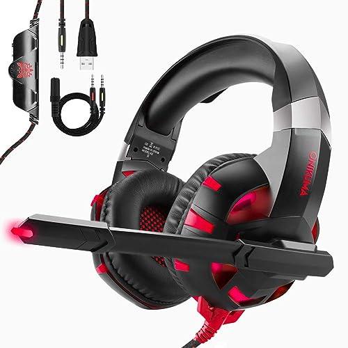 Auriculares Gaming para PS4 o PC, ONIKUMA Cascos Gaming ps4 Con Microfono y Luz LED