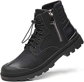 Xujw-shoes store, 2019 Mens New Lace-up Flats Mens Fashion Retro Ankle Boots for Men R Work Boot Lace Up Microfiber Leather Elastic Lock Shoelaces Collision Avoidance Toe Side Zipper Comfortable