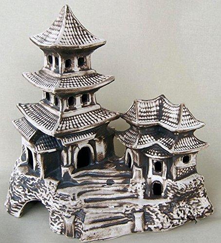 ZooPaul Deko Aquarium China XXL Höhle Teehaus Fische Keramik Dekoration Tempel Terrarium