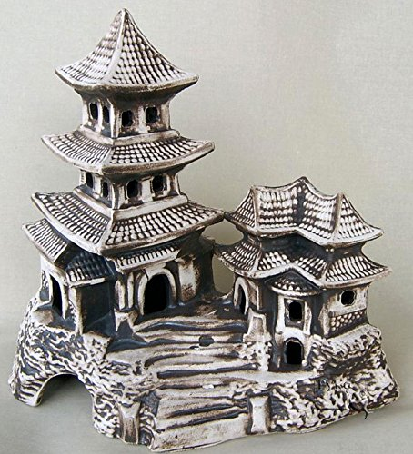Deko Aquarium China xxl Höhle Teehaus Fische Keramik Dekoration Tempel Terrarium