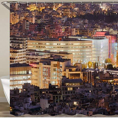 KGSPK Cortinas de Ducha,Atenas Central Vista Desde la Colina Filopappou,Impermeable Cortinas Baño y Lavables Cortinas Bañera 180x180CM