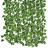 Qiantoucao Artificial Vines, 83Ft(12Pcs) Faux Fake Ivy Leaves Hanging Greenery Garland Vine Plant