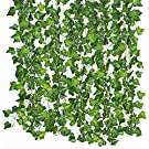 Qiantoucao Artificial Vines, 83Ft(12Pcs) Faux Fake Ivy Leaves Hanging Greenery Garland Vine Plant for Garden Wedding Party Home Wall Decoration