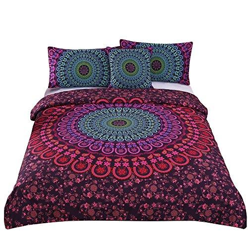 Sleepwish 4-teiliges Mandala-Bettwäsche-Set, romantisch, weich, einfarbig, Köper, Boho, Bohemian-Stil, Queen-Size-Größe