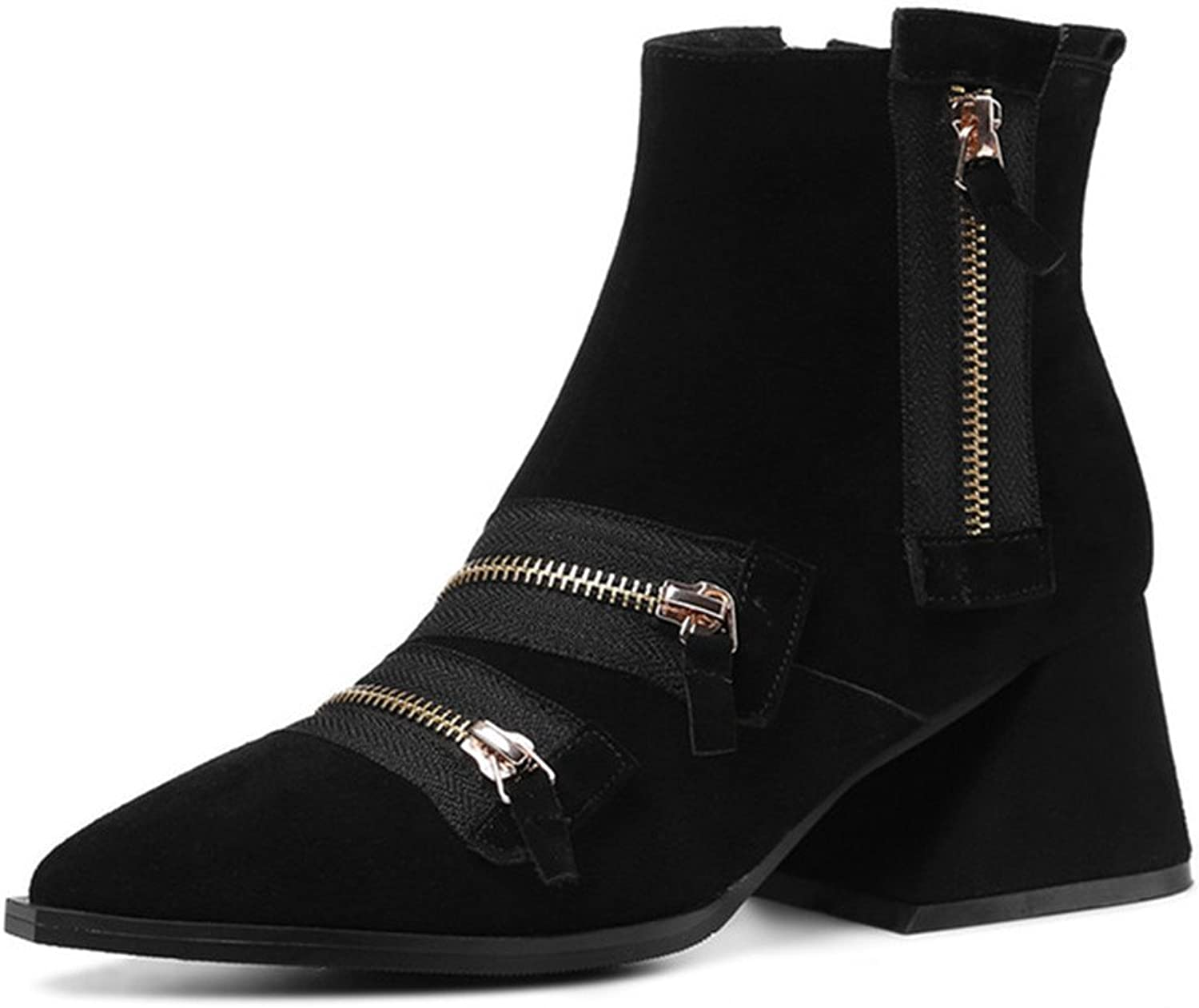 Nine Seven Suede Leather Women's Pointed Toe Chunky Heel Zippers Handmade Ankle Bootie