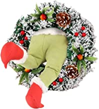 cellyone 20in Christmas Decorations Pose-able Plush Legs Christmas Thief Wreath Christmas Tree Decorations Winter Xmas Hol...