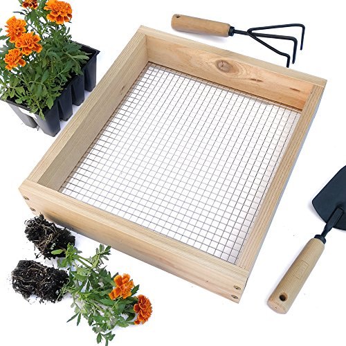 Raw Rutes Cedar Garden Sifter for Compost, Dirt and Potting Soil - Made in The USA Rough Sawn Sustainable Cedar - Stainless Steel Welded Wire Mesh (Hand Held Garden Sifter)