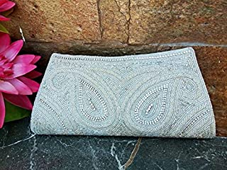 Women's Vintage Beaded Clutch Purse, Iridescent White Clutch, Bridal party purse, Handmade beaded evening bag, Prom party purse bag