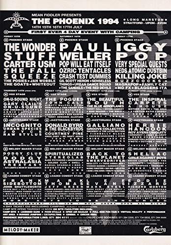 The Phoenix Festival 1994 (The Wonder Stuff, Iggy Pop, Paul Weller) - Mini Press Poster/Magazine Clipping
