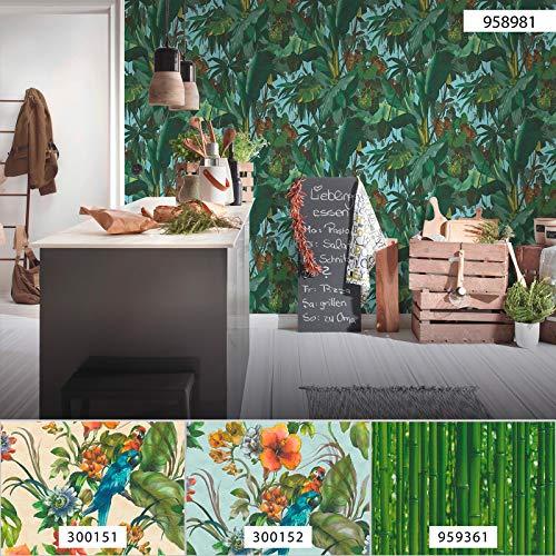 Dschungel-Tapete grün blau 95898-1 | Palmen-Tapete 958981 | Moderne Tapete für Wohnzimmer & Schlafzimmer | Tapete mit Bananenblättern online kaufen!