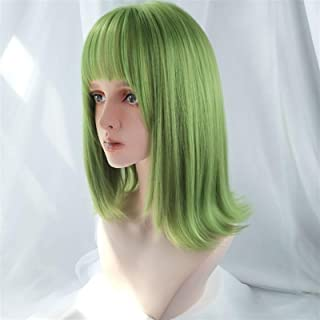 Hairpieces Women's Medium Length Synthetic Wig with Bangs Light Green Straight Hair Heat-Resistant Wig Cosplay Hair Extens...