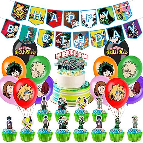 Accesorios para fiesta de cumpleaños, diseño de PAWT My Hero Academia con temática de tartas, incluye pancarta de cumpleaños,decoración de tartas, globos de látex