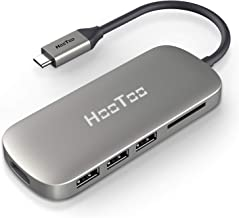HooToo USB C Hub, 6-in-1 USB C Adapter with 4K USB C to HDMI, 3 USB 3.0 Ports, SD Card Reader, Pd Charging Port for MacBook/Pro/Air (2018),Chromebook,and More USB C Devices (Grey)