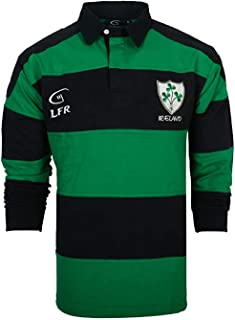 Kid's Long-Sleeve Navy/Green Striped Shamrock Crest Ireland Rugby Shirt