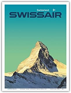 Pacifica Island Art Switzerland - SwissAir - Matterhorn - Vintage Airline Travel Poster by Manfred Bingler c.1964 - Master Art Print - 9in x 12in