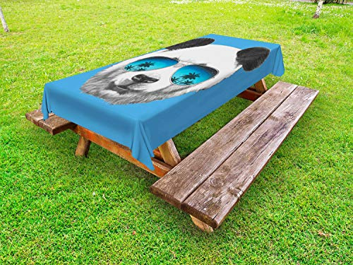 ABAKUHAUS Zonnebril Tafelkleed voor Buitengebruik, Single Cool Gezicht van de Panda, Decoratief Wasbaar Tafelkleed voor Picknicktafel, 58 x 104 cm, Blue Dark Grey Pearl