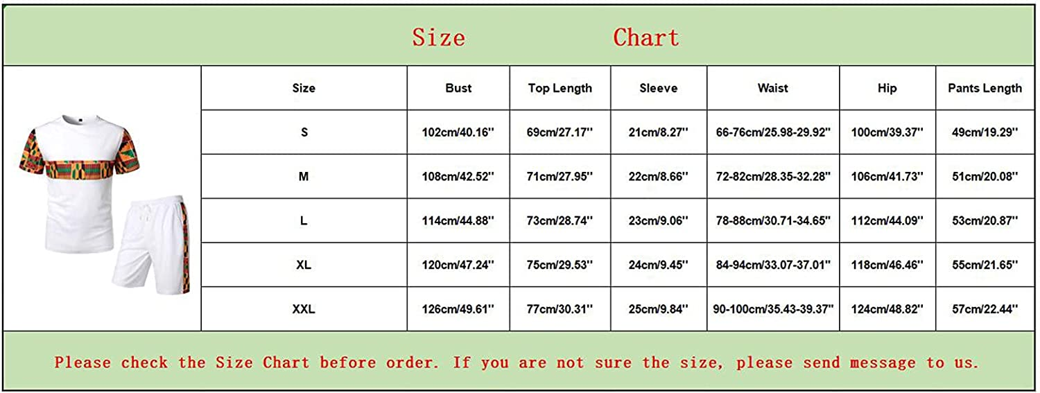 Maryia 2 Piece African Outfits Summer Casual Mens Hipster Printed Patchwork Tee Shirts and Shorts Set Sports Tracksuit