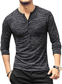 Men's Regular Fit Short Sleeve Henley T-Shirt Tee Classic Slub Henley T-Shirt with Button Black
