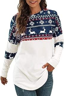 Macondoo Women's Slim Printed Tee Long Sleeve Pullover Christmas Sweatshirts