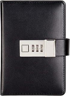 دفتر اليوميات الإبداعية دفتر كلمات السر مع مذكرة قفل كتب مفكرة مثبتة، دفتر مذكرات المدرسة سجل (اللون: أسود)