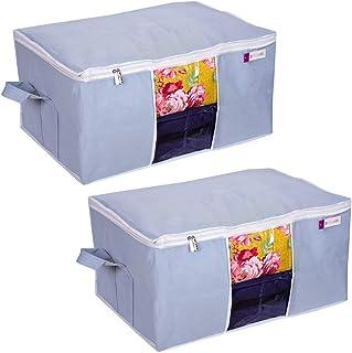 Prettykrafts Underbed Storage Bag, Storage Organizer, Blanket Cover with Side Handles (Set of 2 pcs) - Grey