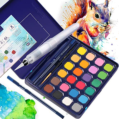 Watercolor Paint Set, 24 Colors Watercolor Professional Paint in Tin Box with Water Brushes, Sketch Pencil, Portable Painting Set Students, Kids, Beginners, Professional Artist, School Supplies