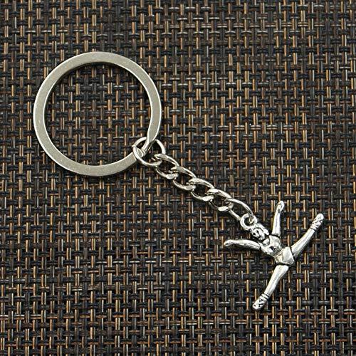 Schlüsselring Metall Schlüsselanhänger Antik Silber Color Plated Gymnastics Turner Turner Anhänger