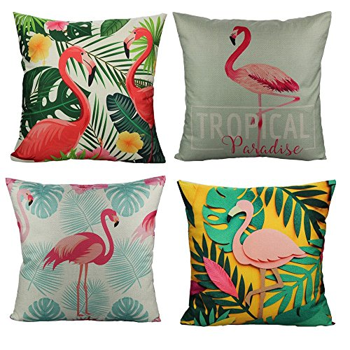 VAKADO Tropical Flamingo Bird Plant Flower Cushion Covers 18x18 Set of 4 for Patio Couch Furniture