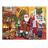 ジグソーパズル1000ピースアダルトパズル木製パズルクラシック3Dパズルサンタの家族コレクションモダンな家の装飾