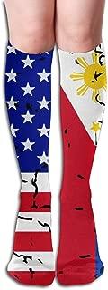 Men's USA Philippines Flag Thigh High Socks For Athletic,Running,Travel,Nurses,Fitness