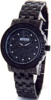 Real 2.00ct Black Diamond Watch Ladies Black Case Black Metal Band MJ-1046B